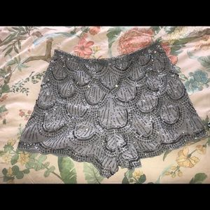 Silver Pewter sequin Shorts